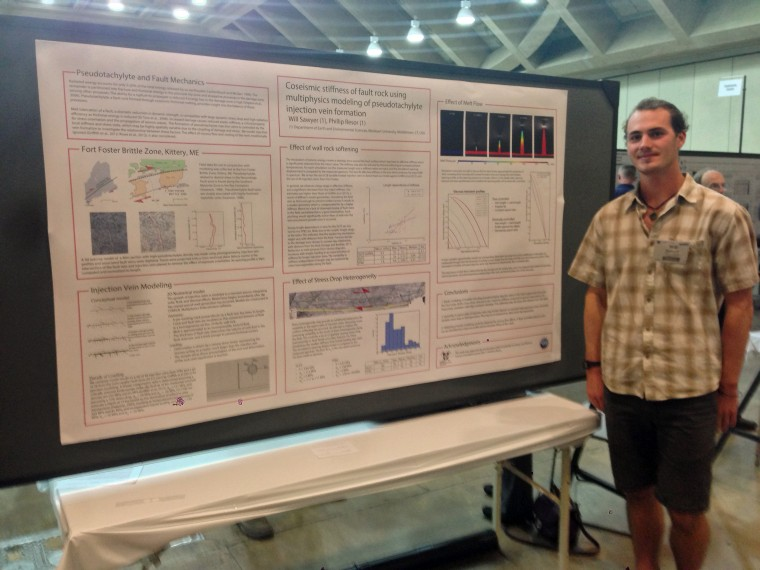 Will Sawyer '16 was one of several Wesleyan students and faculty who presented at this year's Geological Society of America (GSA) Annual Meeting.