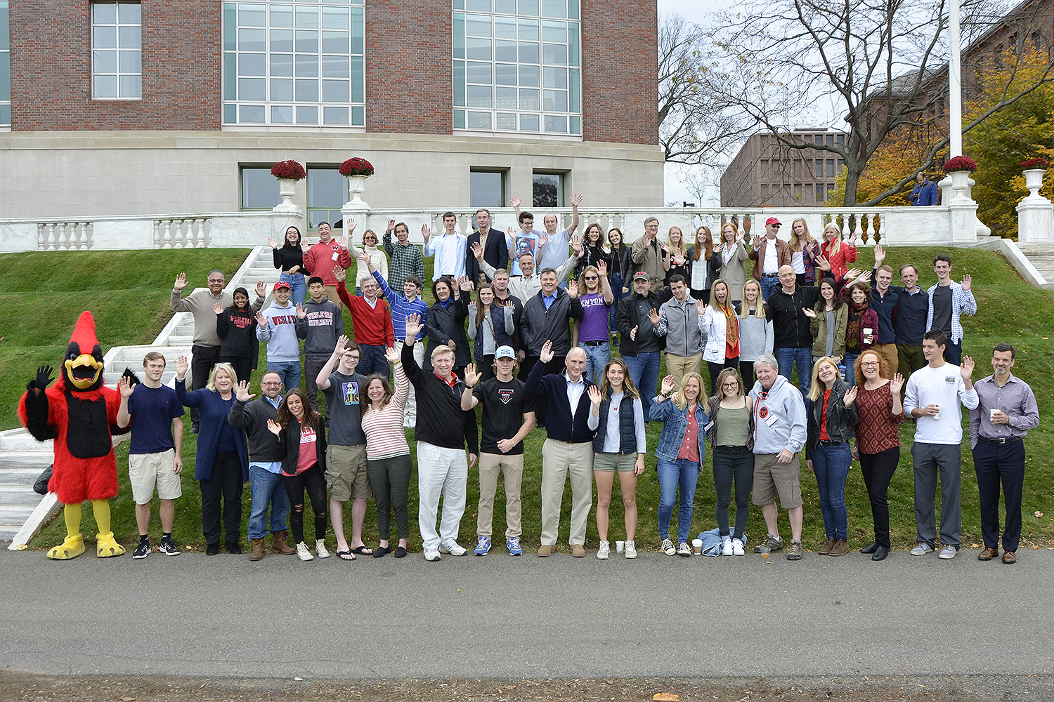 Alumni and their children joined in for Homecoming Weekend's annual legacy photo on Nov. 7, taken on Denison Terrace. (Photo by John Van Vlack)