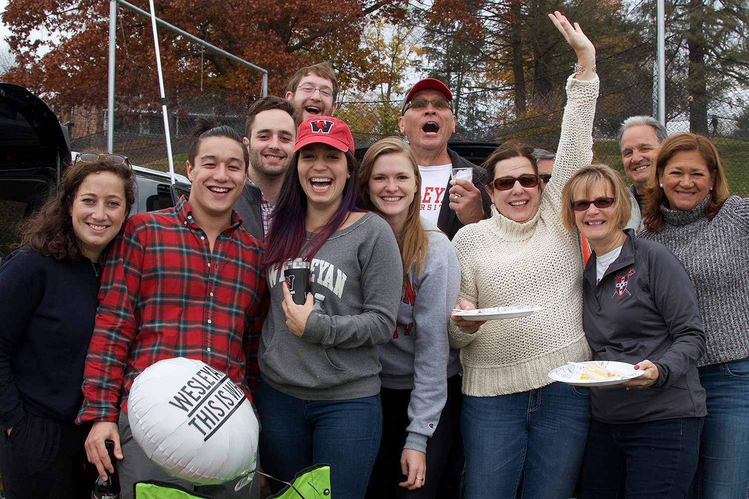 Members of the Wesleyan community, friends and family gathered on Andrus Field on Nov. 7 for tailgaiting before the Homecoming football game against rival Wlliams College. (Photo by Ryan Heffernan '16)