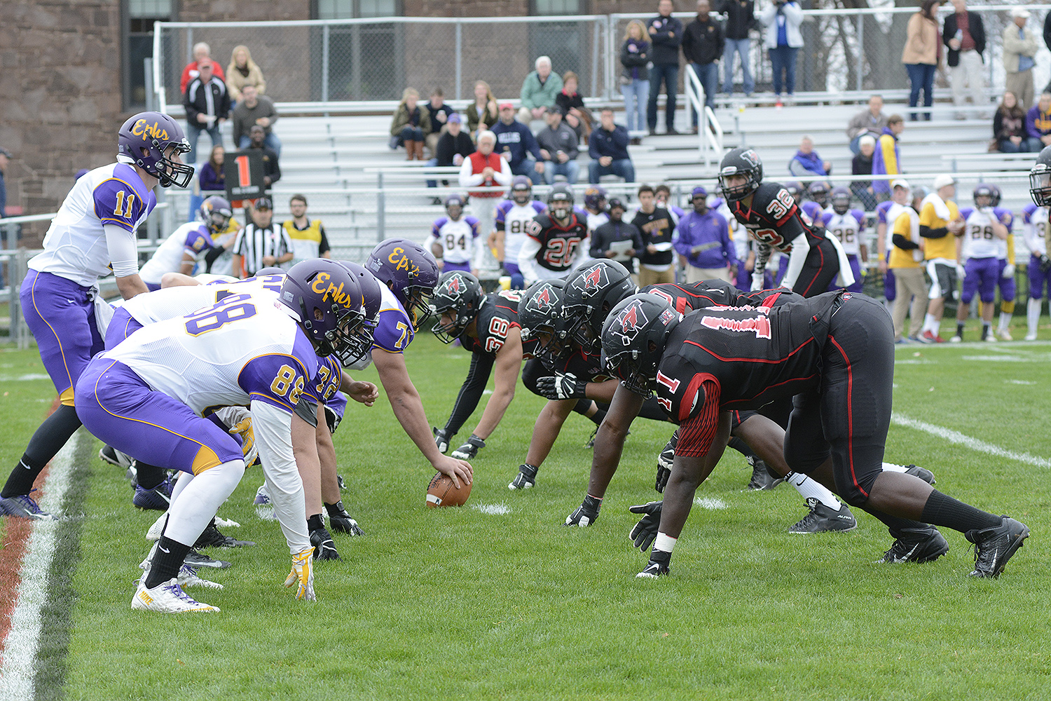Wesleyan's football team took on Williams College for the annual Homecoming game on Saturday, Nov. 7. (Photo by John Van Vlack)