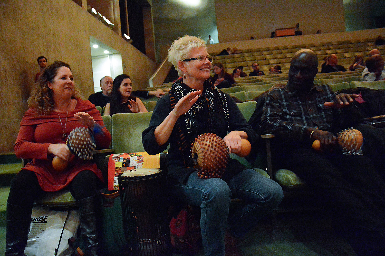 Retiring Adjunct Professor of Music Abraham Adzenyah and Artist in Residence Iddi Saaka taught a joint Homecoming/Family Weekend workshop for students, families and friends in Crowell Concert Hall on Ghanian drumming and dance, on Nov. 7. (Photo by John Van Vlack)