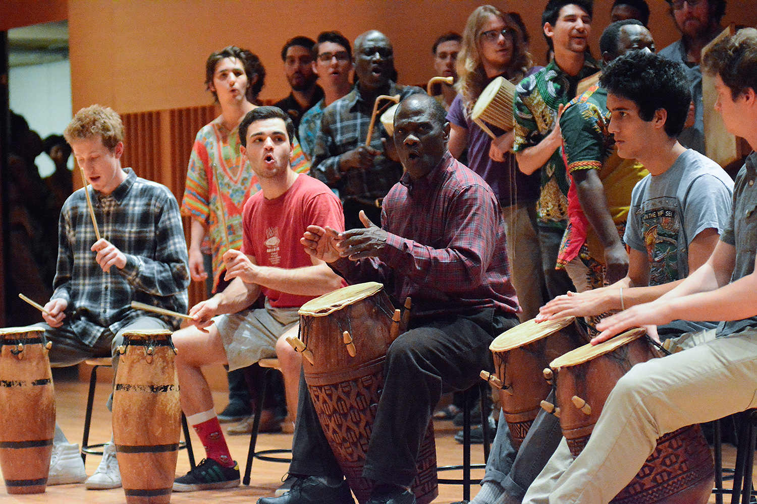 Participants in the West African Drumming and Dance workshop performed in Crowell Concert Hall on Nov. 7, with retiring Adjunct Professor of Music Abraham Adzenyah and alumni accompanying on drums. Current Wesleyan students also performed. (Photo by John Van Vlack)