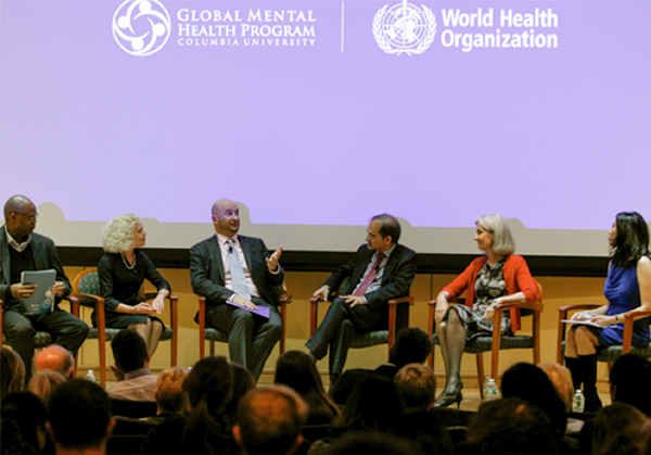 Pictured, at left, is Carlton Whitmore of the New York City Department of Health and Mental Hygiene; Ruth Weissman; Milton Wainberg, co-scientific director of Columbia's Global Mental Health Program; Shekhar Saxena of the World Health Organization; Tia Powell of the Center for Bioethics at Montefiore Health System; and Sheryl WuDunn, moderator and author of A Path Appears. Pictured, at left, is Carlton Whitmore of the New York City Department of Health and Mental Hygiene; Ruth Weissman; Milton Wainberg, co-scientific director of Columbia's Global Mental Health Program; Shekhar Saxena of the World Health Organization; Tia Powell of the Center for Bioethics at Montefiore Health System; and Sheryl WuDunn, moderator and author of A Path Appears.