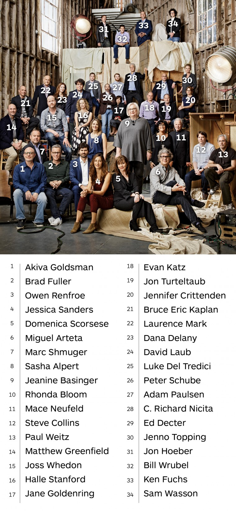 Basinger with 33 former students who are film industry leaders. (Photo by Smallz + Raskind)