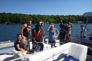 Students did fieldwork on Lake Hayward in East Haddam, Conn.