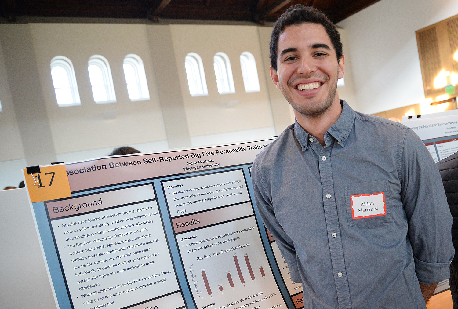 "Aidan Martinez '17 shared his research titled ""The Association Between Self-reported Big Five Personality Traits and Alcohol Use"" during the QAC Poster Session. Martinez concluded ""there is an association between alcohol usage and personality, specifically between the traits of extraversion, conscientiousness, and agreeableness."""