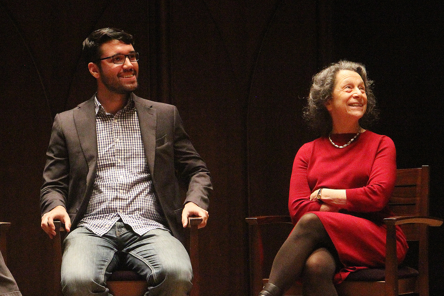"""At right, Priscilla Meyer, professor of Russian, East European, and Eurasian studies, spoke on""""The Ripple Effect."""""""