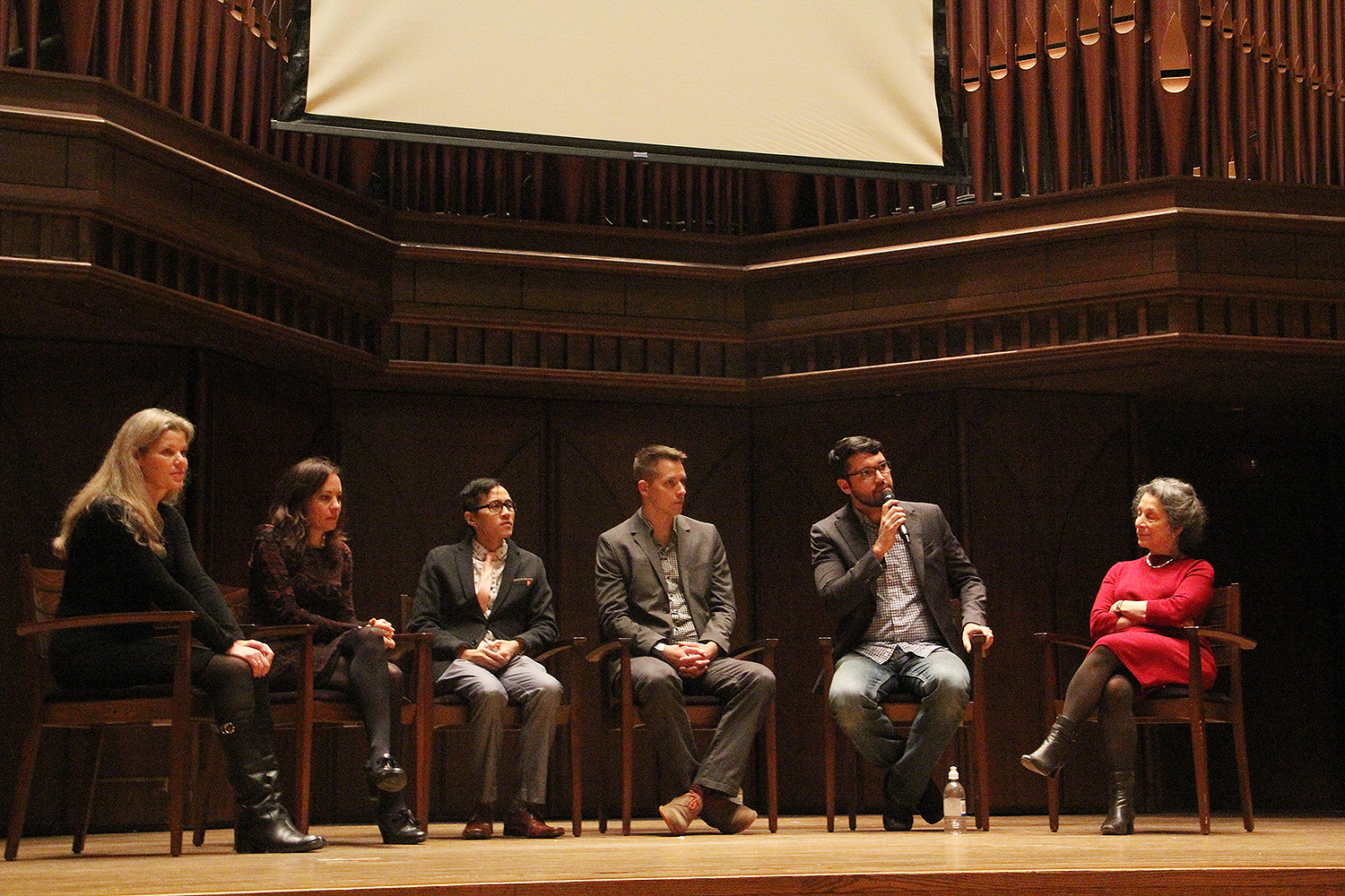 During Wesleyan Thinks Big, six faculty delivered 10-minute inspirational lectures on topics they are personally passionate about. The student-run event took place Dec. 10 in Memorial Chapel.