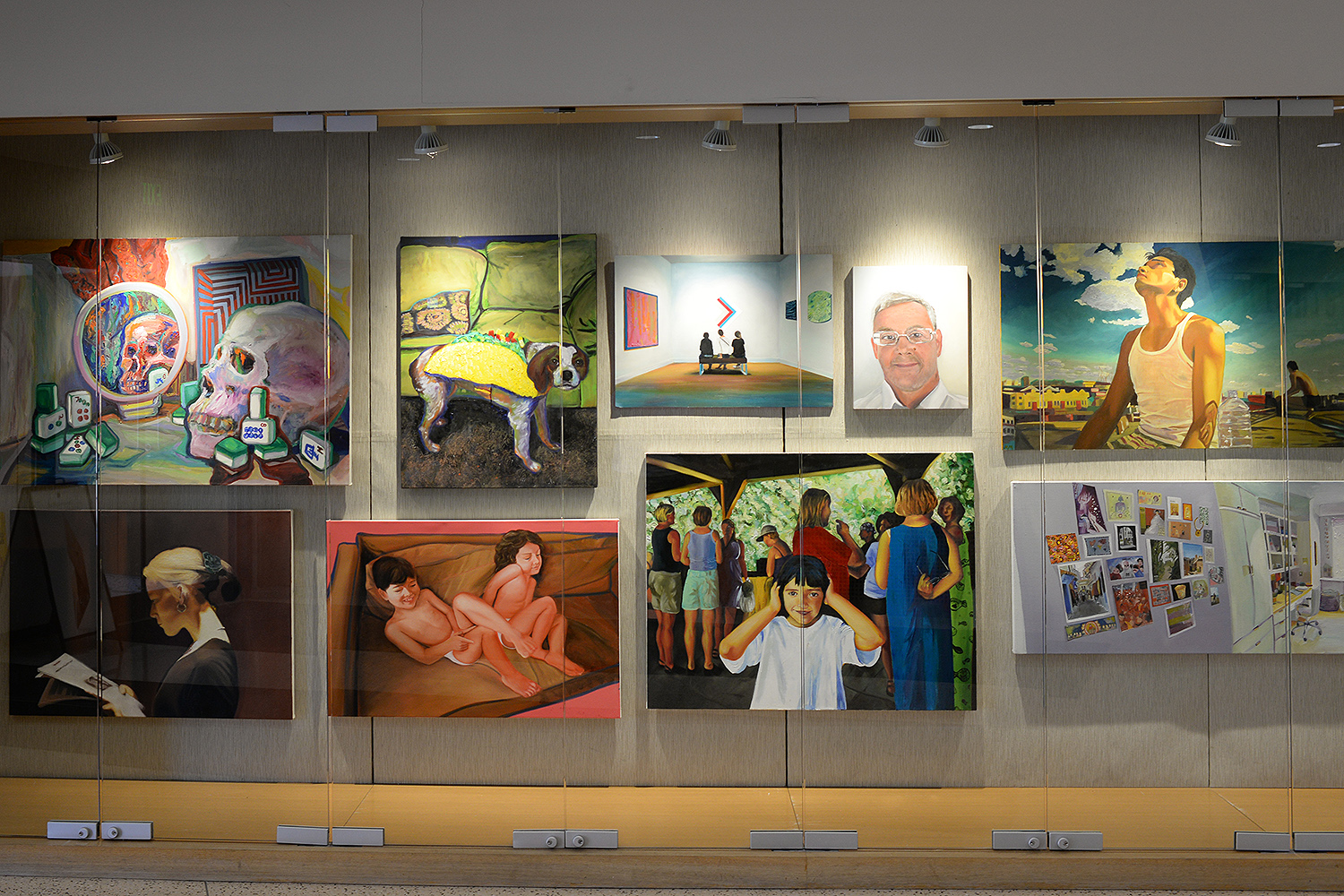 Artwork by Painting I students is on display in Usdan University Center's gallery this month.