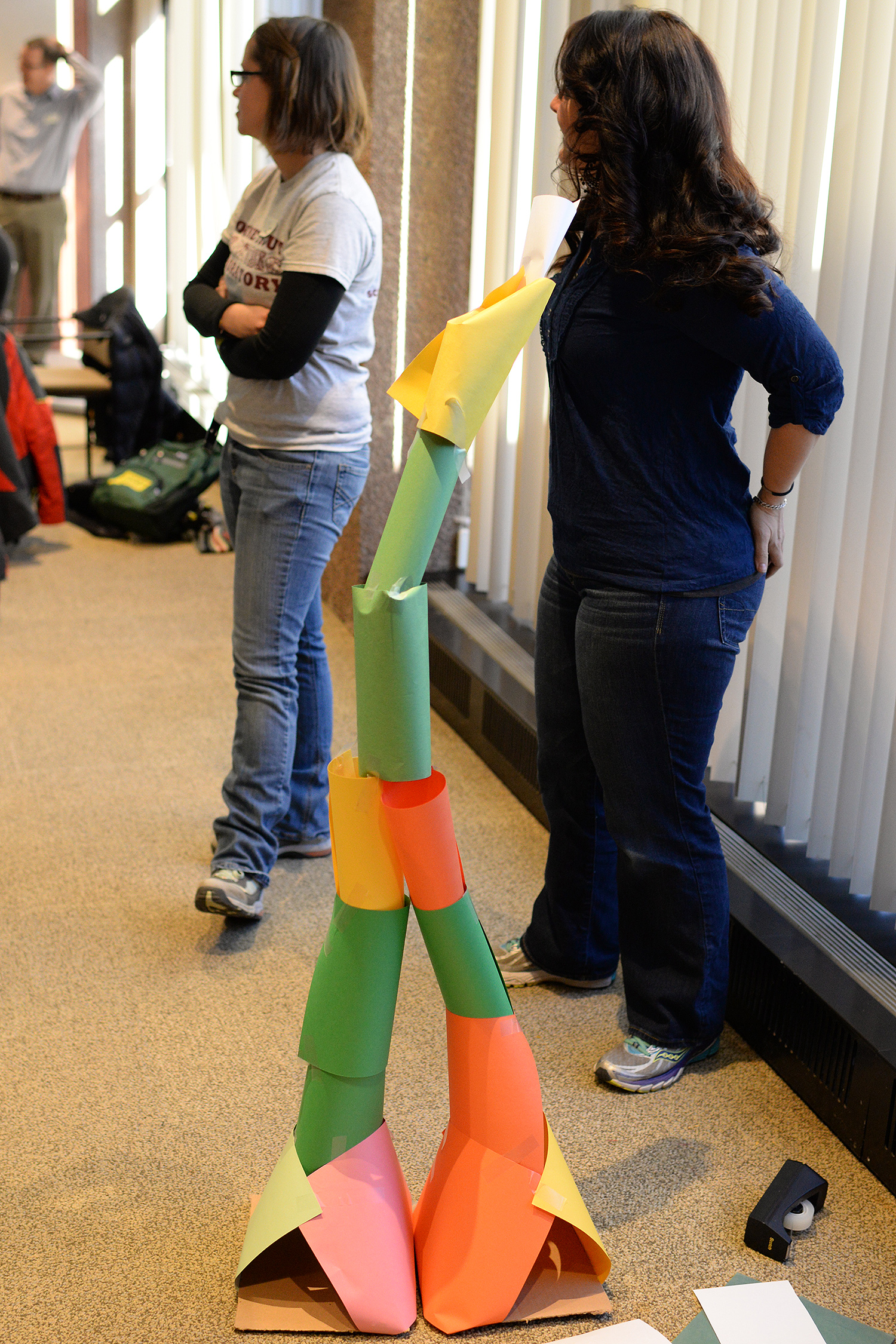 While none of the groups were able to build a five-foot tall structure, the winning group's tower was 54.5 inches high (4.5 feet).