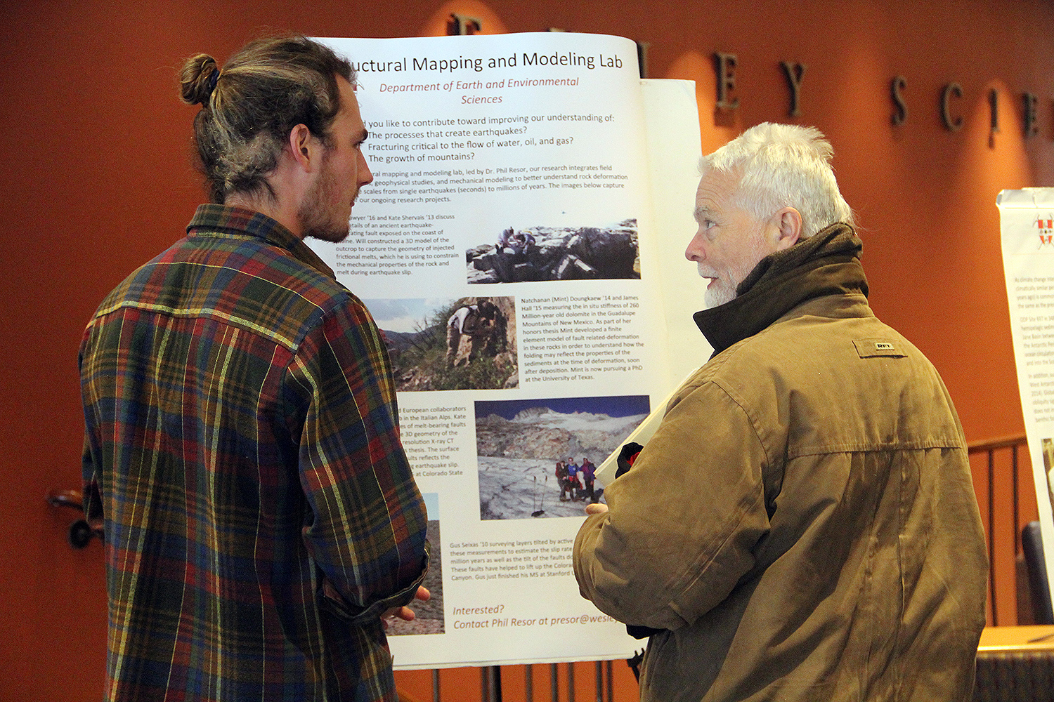 "Will Sawyer '16 presented research on ""Structural Mapping and Modeling,"" where he fielded observations, geographical studies, and mechanical modeling to better understand rock deformation."