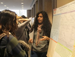 "Hannah Morales '17 discusses her group's research on ""Syntheses of fluorinated trehalose to test their impact on protein stability."" The research is a collaboration of the Department of Physics and Department of Chemistry."