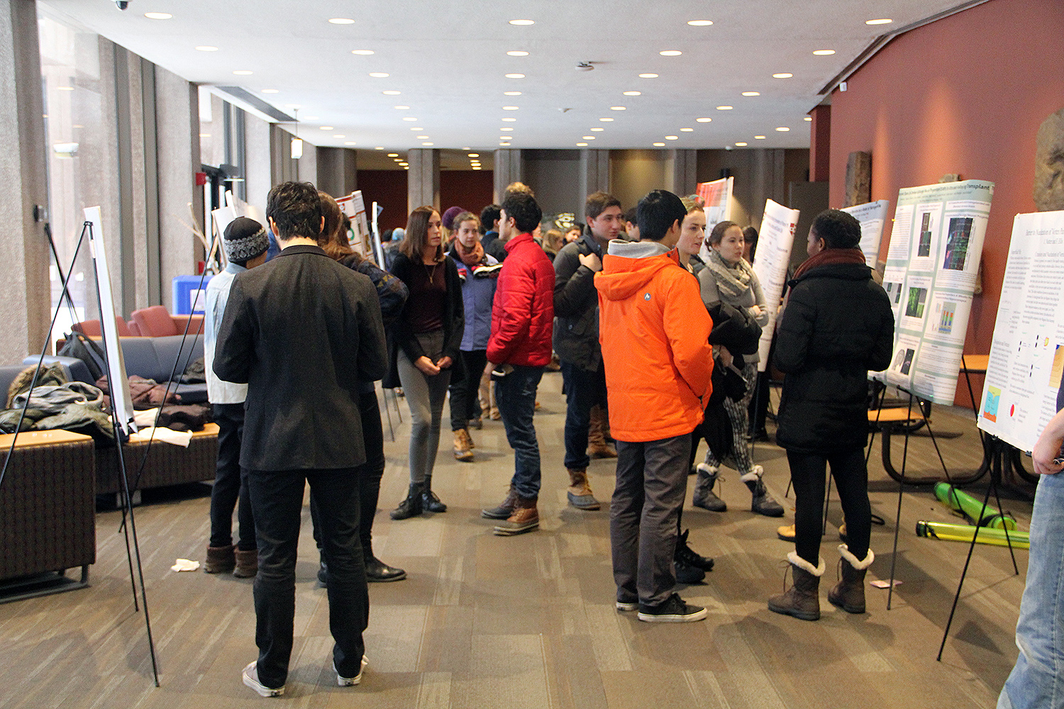 During an undergraduate poster session on Jan. 23, Wesleyan students shared their research with aspiring students interested in finding a research group.