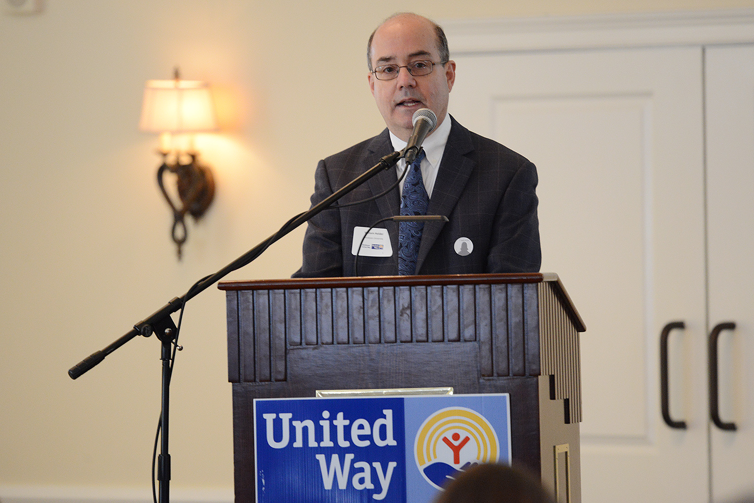 Bill Holder, director of university communications and president of the Middlesex United Way, led the annual meeting at the Riverhouse at Goodspeed Station in Haddam, Conn. Wesleyan has a long history of employees giving to the United Way. Since 2001, employees have donated $1.7 million to the cause.