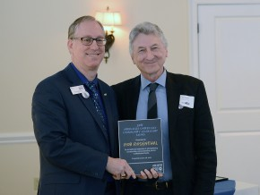 Middlesex United Way Executive Director Kevin Wilhelm presented the award to Rosenthal.