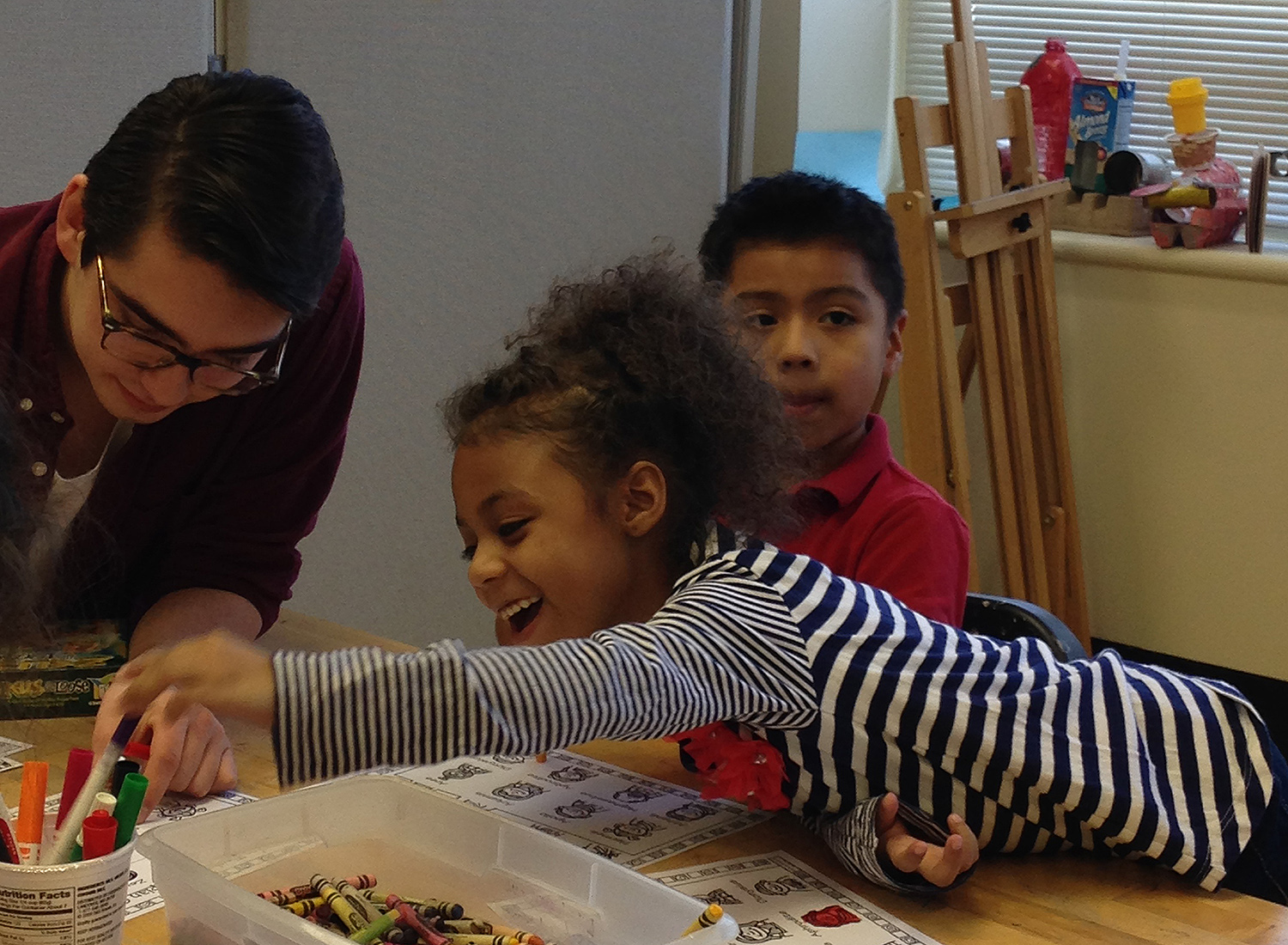 Ben Saldich '19 works with Green Street Teaching and Learning Center students.