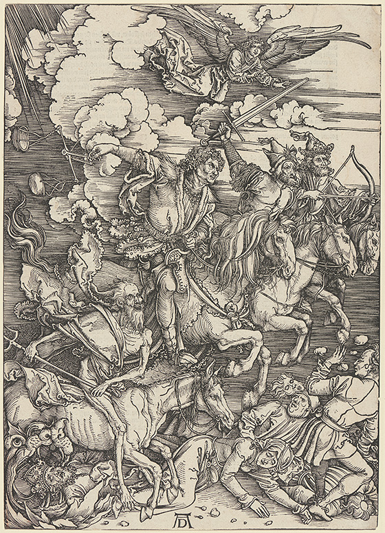 "Albrecht Dürer's woodcut ""The Four Horsemen,"" is a gift from George W. Davison, 1939."