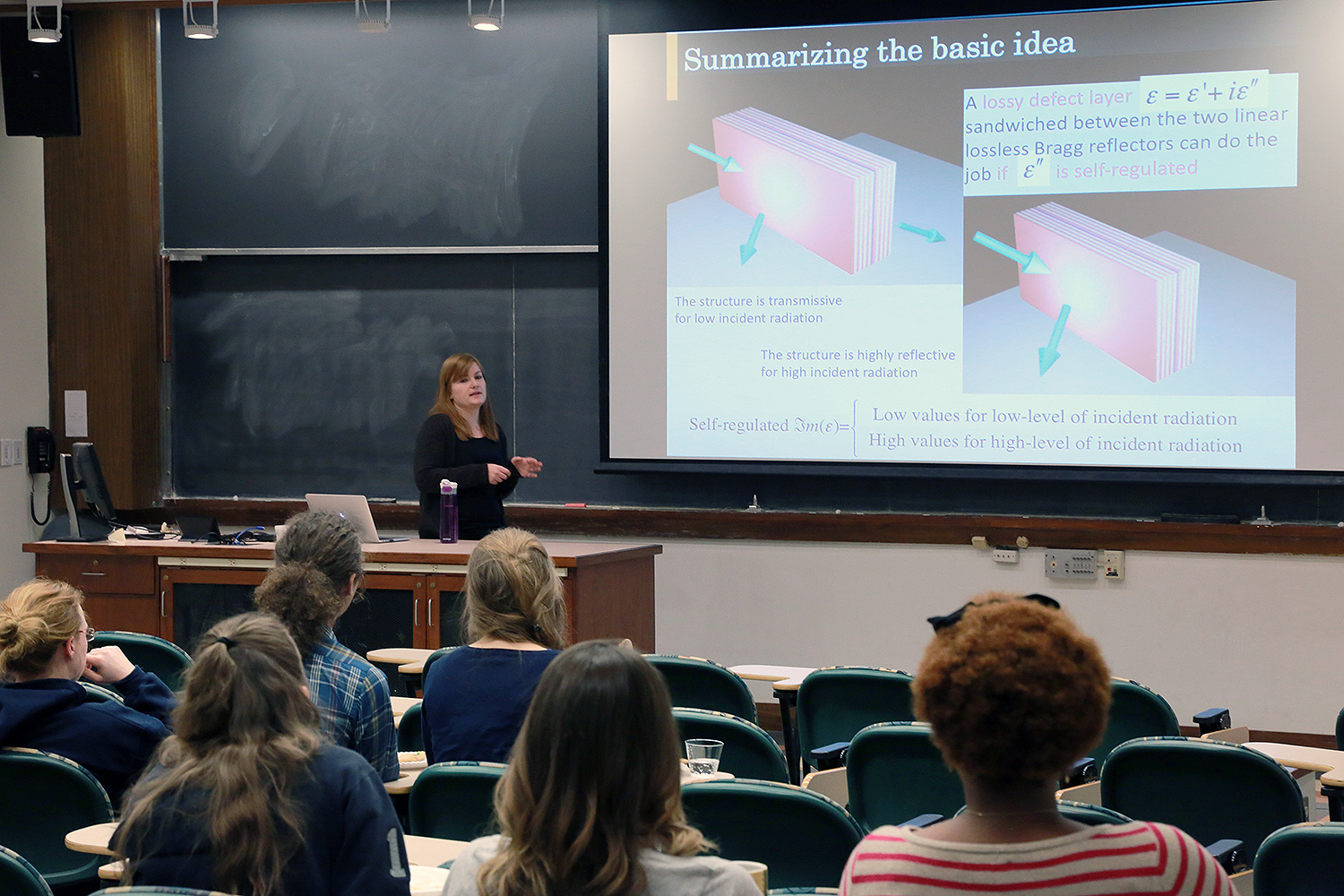 "Makri introduced the audience to to reflective photonic limiters, which are designs that become reflective instead of absorptive at high-level radiation. ""Consequently, they can offer protection to optical sensors while avoiding their self-destruction,"" she explained."