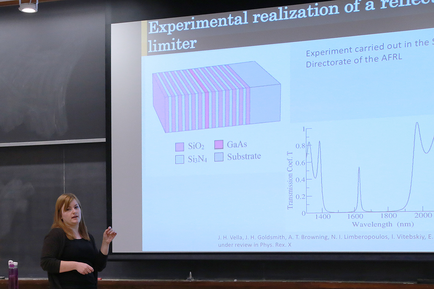 "Eleana Makri, a PhD candidate in physics, spoke on ""Reflective Photonic Limiters: a Novel Scheme for Sensor Protection"" during the Graduate Student Speaker Series Feb. 10 in Exley Science Center. Photonic limiters are devices designed to transmit low-level radiation, while blocking electromagnetic pulses of power or total energy exceeding a certain threshold."