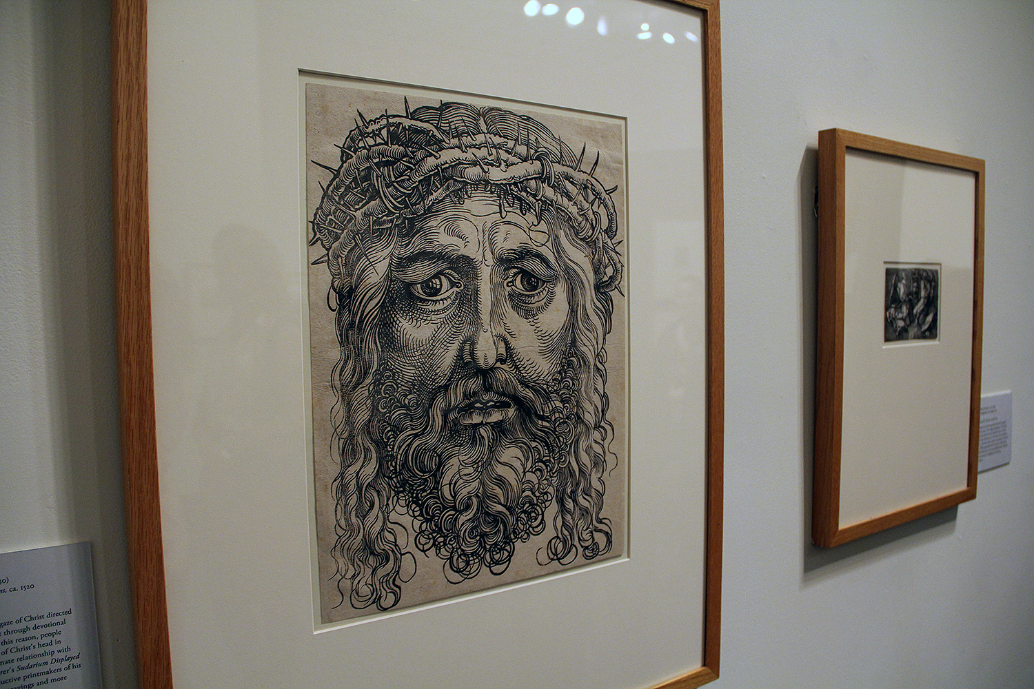 "Hans Sebald Beham (German, 1500-1550) created this woodcut of ""The Head of Christ Crowned with Thorns"" in 1520. At the time, people hung this larger-than-life-sized image of Christ's head in their private shrines and built an intimate relationship with the print. Beham made about 270 engravings and more than 1,000 woodcuts during his career."