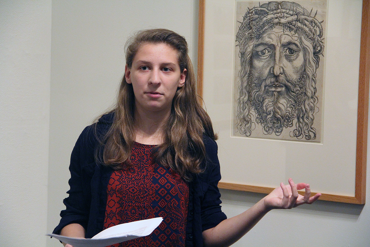 During the exhibition opening, student curators led a gallery talk that explored topics such as the fascination with the Apocalypse, printmaking and the rise of the Reformation, the use of prints as propaganda for Holy Roman Emperor Maximilian I, and the new interest in scientific observation and the natural world.