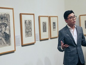 Daniel Lee '16 spoke about the prints commissioned by Holy Roman Emperor Maximilian I (1459-1519).