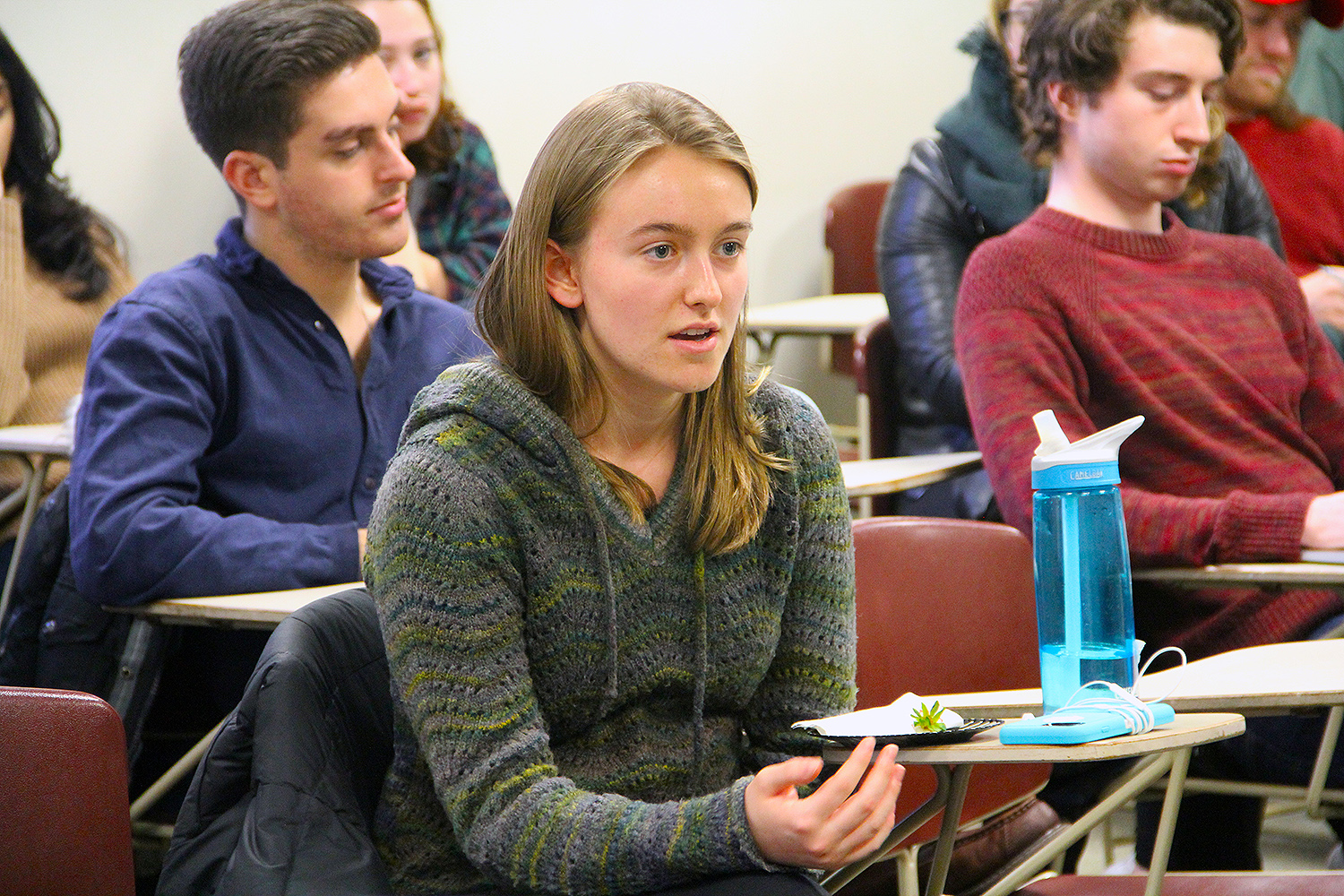 Students introduced topics such as the legitimacy of the Iowa caucus, the origins and effects of super-delegates, and the campaign prospects of Donald Trump and Bernie Sanders.