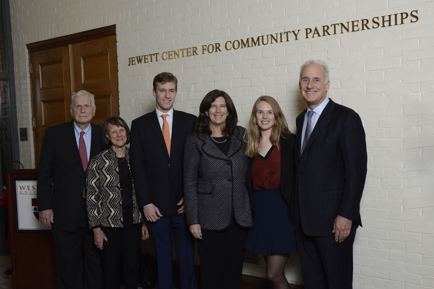 Ellen Jewett (fourth from left) with Corson Ellis, Constance Ellis, Ezra Kauffman '17, Hannah Kauffman and Richard Kauffman.