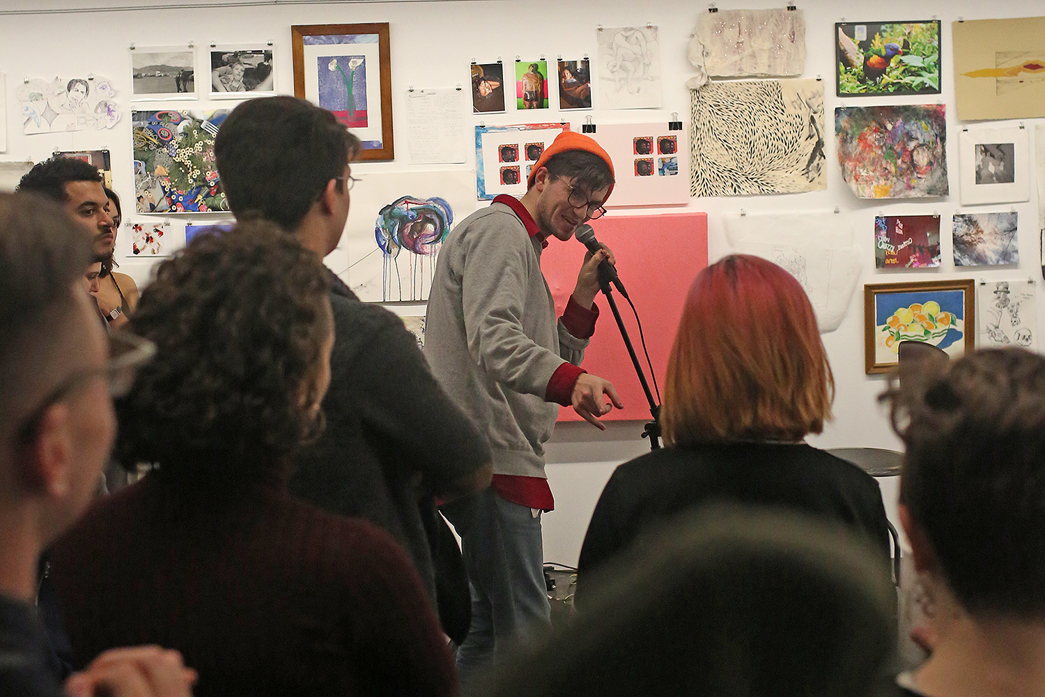 Students gather to celebrate the opening of the Workshop, a student run art space on campus