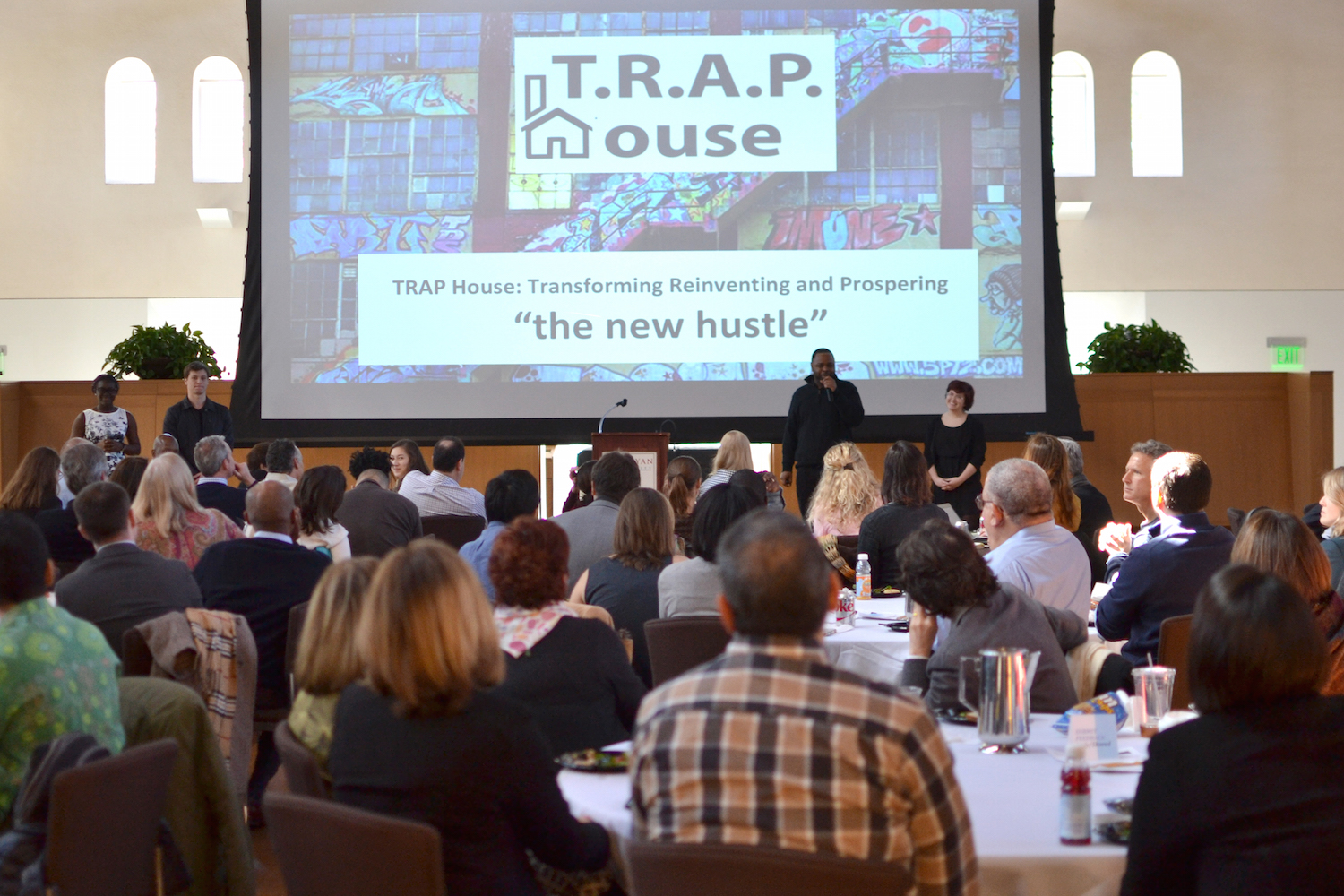 Members of team behind TRAP House, one of the three social ventures that won a seed grant, presented their pitch before a live audience of the Board of Trustees, Patricelli Center Advisory Board and others. Presenting (from left to right) are Irvine Peck's-Agaya '18, Gabe Weinreb '18, Bashaun Brown, and Sara Eismont '18.