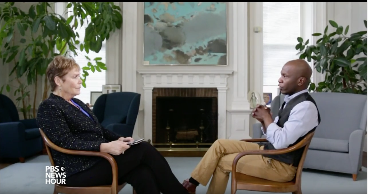 PBS Newshour's Jackie Judd interviews Michael Smith '18 about his experience at Wesleyan as a Posse Veteran Scholar.