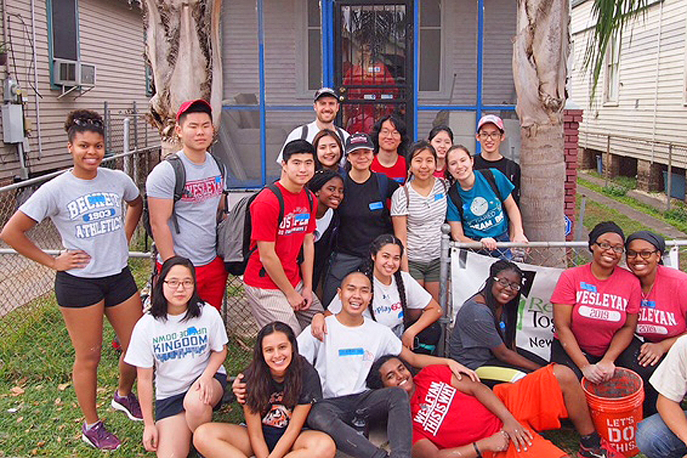 During their spring break, March 4-13, 19 Wesleyan students went to New Orleans to help rebuild a home damaged by Hurricane Katrina.