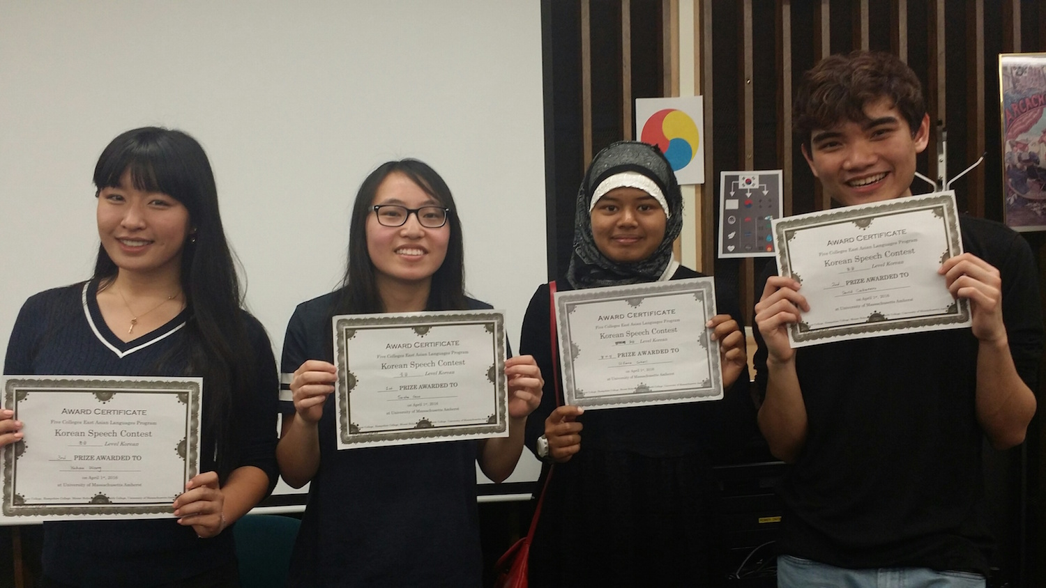 Wesleyan students Yuhan Wang '19, Sasha Guo '18, Sifana Sohail '18, and David Cabanero '19 participated in the Five College Korean Speech Contest on April 1.