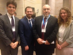 Students spoke with former Ambassador from Georgia Temuri Yakobashvili at the Ukraine in Washington forum. From left, James Reston '18, Misha Iakovenko '18 and Molly Jane Zuckerman '16.