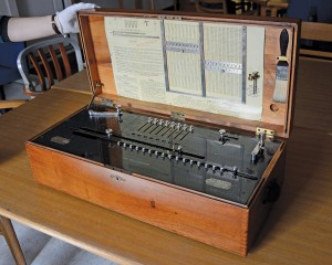 """The Millionaire"" Mechanical Calculator. Useful for determining distances to stars, this late 19th-century calculator had high precision (eight significant figures) and is still in perfect working order. (Photo by John Van Vlack)"