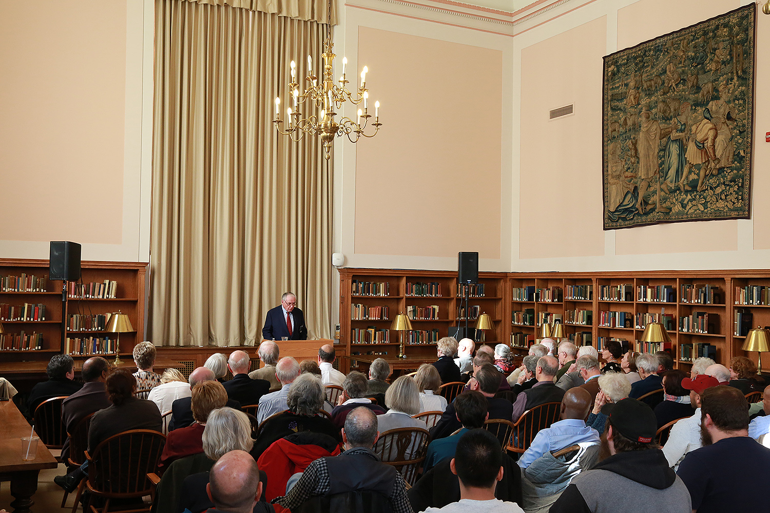 He spoke at length about the ethical obligations of educated citizens in a participatory democracy, and he took questions after. After Wesleyan, Campbell served as president of the Rockefeller Brothers Fund. He went on to serve as chairman, president, and chief executive officer of the Colonial Williamsburg Foundation, retiring in 2014 and now serving as chairman emeritus. His talk was sponsored by the Wasch Center for Retired Faculty.