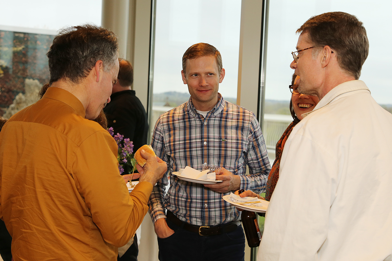 Attendees continued their conversation at a reception following the event. (Photos by Richard Marinelli)