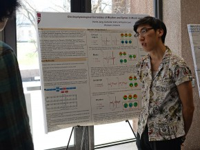 "Harim Jung '16 presented his research done with Cameron Arkin '17, ""Electrophysiological Correlates of Rhythm and Syntax in Music and Language."" Their faculty advisor is Assistant Professor of Psychology Psyche Loui."