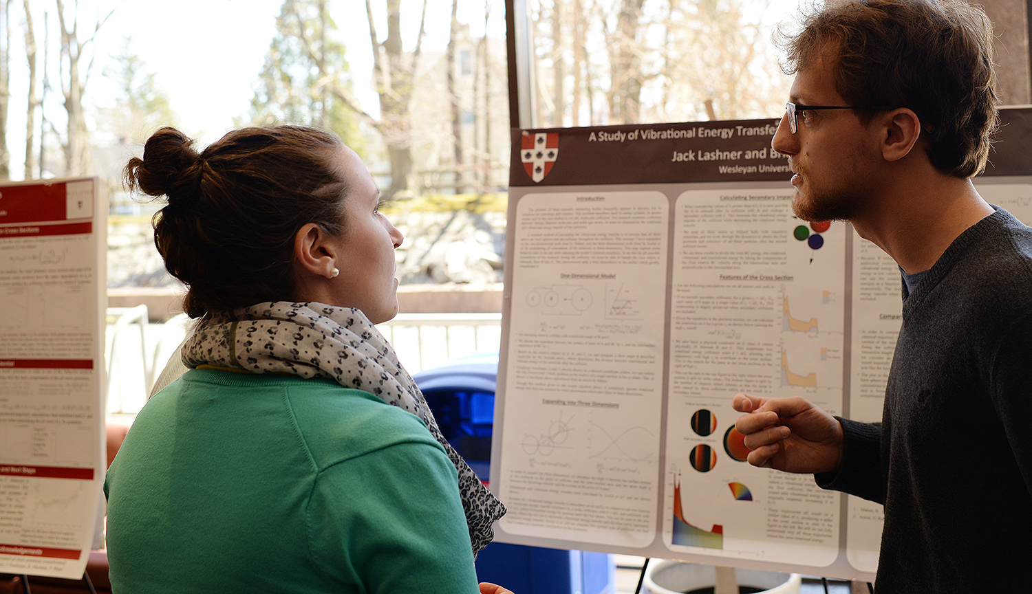 "Jack Lashner '16 displayed his research project ""A study of Vibrational Energy Transfer through a Hard Sphere Model."" His faculty advisor is Professor of Physics and Environmental Studies Brian A. Stewart."