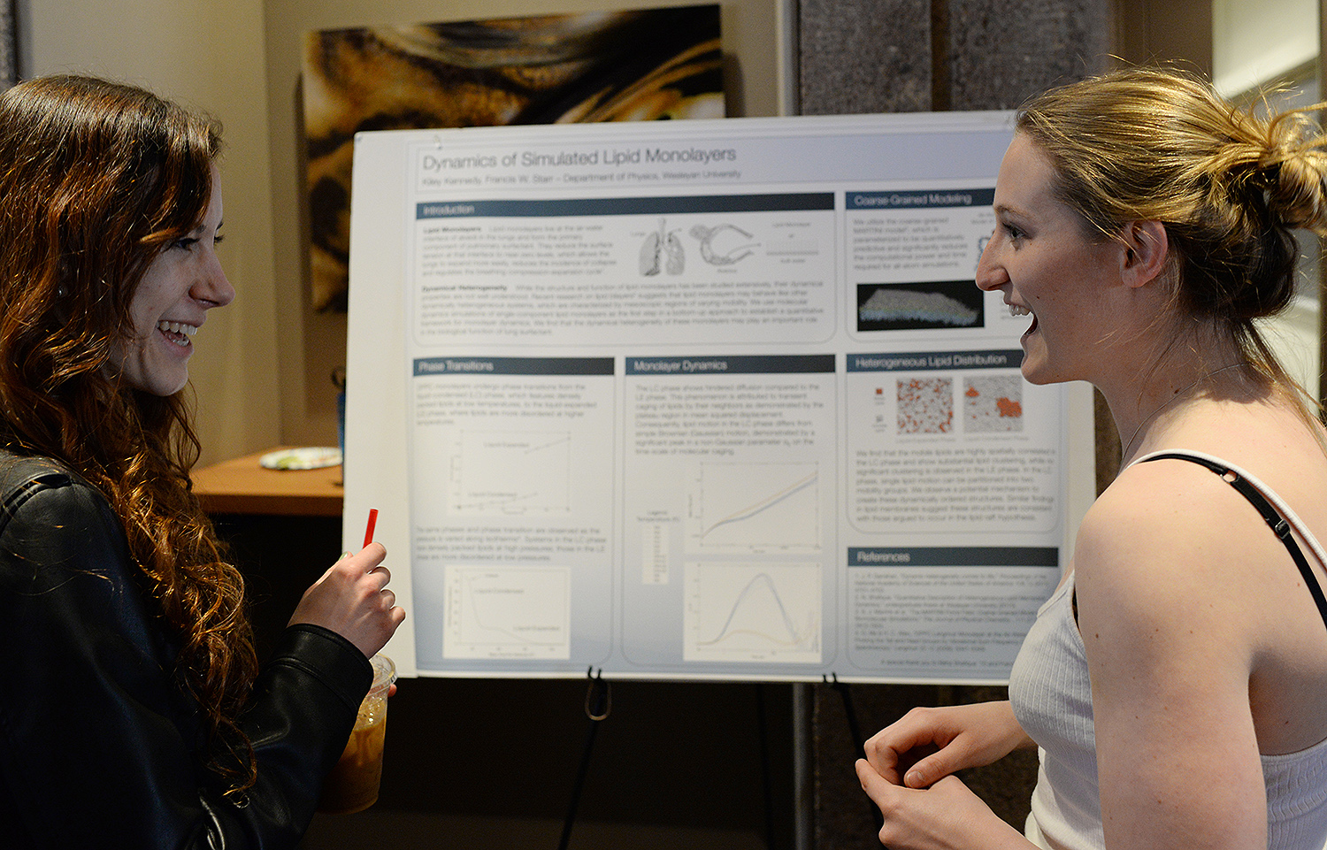 "Kiley Kennedy '16 exhibited her research ""Dynamics of Simulated Lipid Monolayers."" Francis Starr, director of the College of Integrated Sciences, professor of physics, served as her faculty advisor."