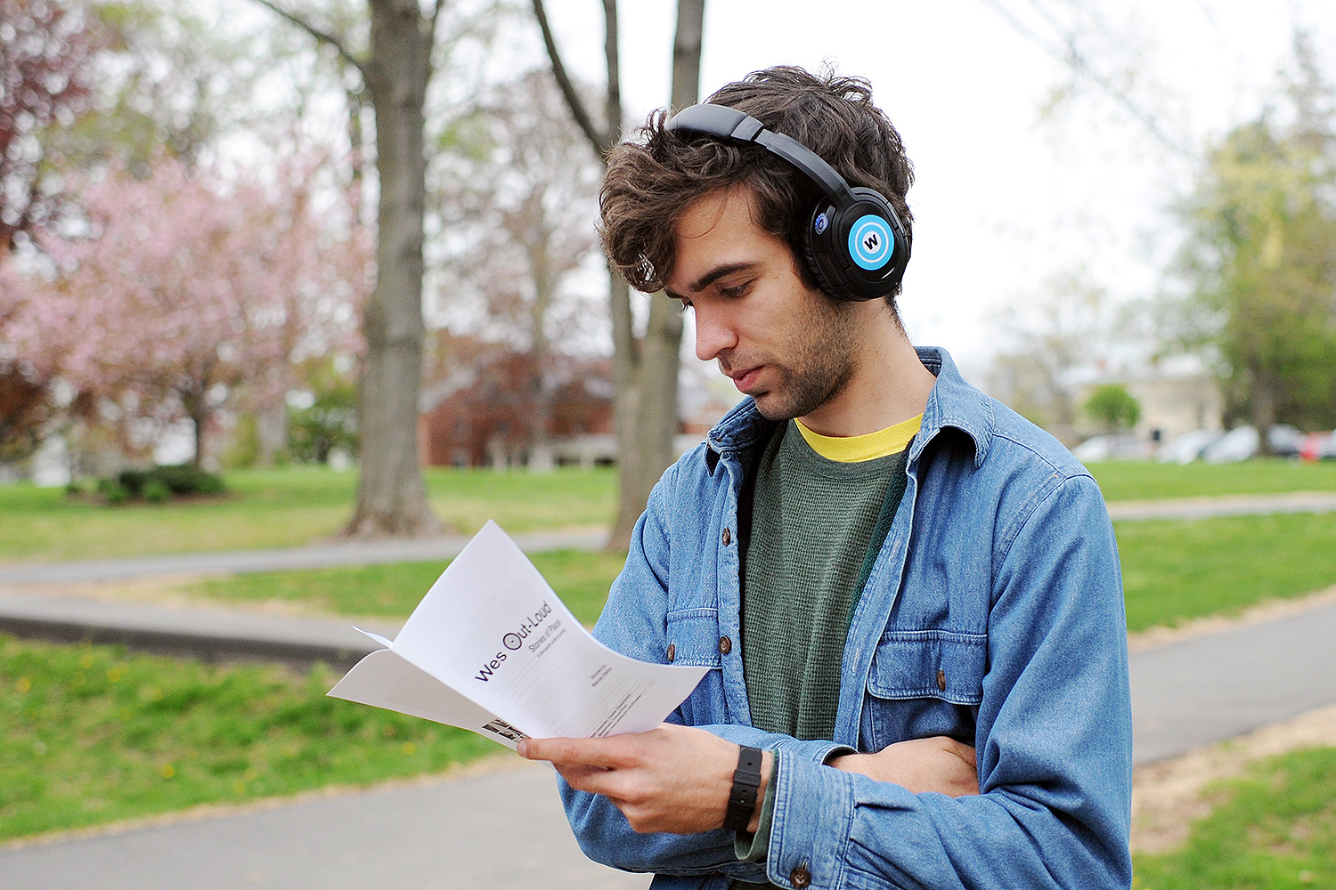 "During the ""Wes Out-Loud"" performance, audience members wore wireless headsets to listen to recorded stories of place created for various sites on campus."