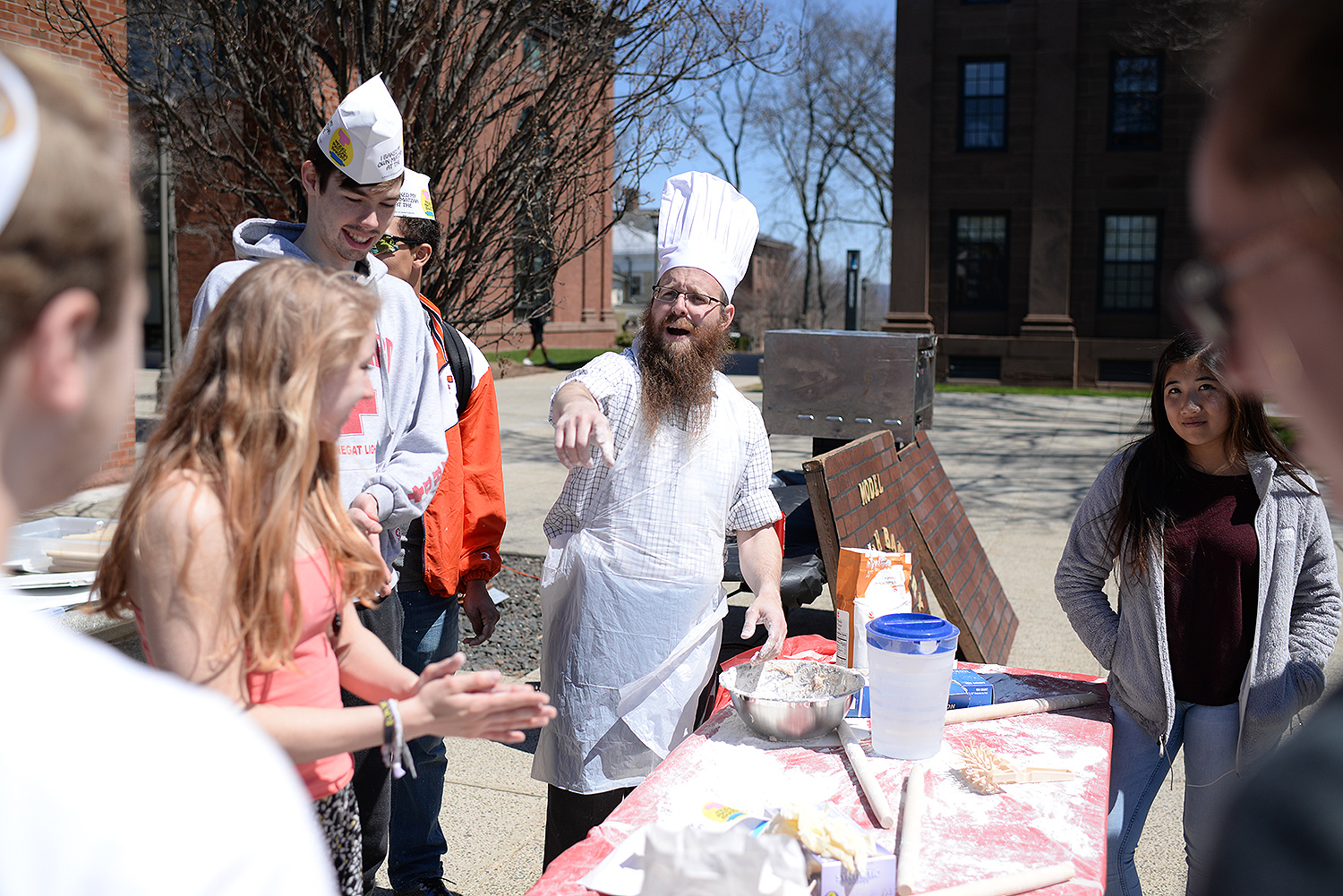 Chabad at Wesleyan and Alpha Epsilon Pi, Wesleyan's Jewish fraternity for men, hosted their fourth annual Wesleyan Matzo Bakery April 14 on Huss Courtyard. Matzo is traditionally eaten by Jews during the week-long Passover holiday. Matzo, an unleavened bread.