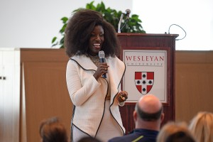 Alumni Keynote Speaker, Bozoma Saint John '99, head of global consumer marketing for Apple Music and iTunes, delivered the WesFest keynote address on April 15.