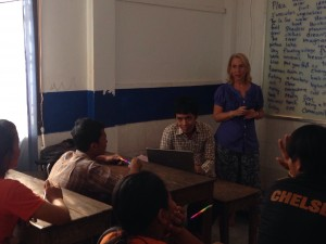 Sue Rappaport Guiney '77, founder of Writing Through, leads an English creative writing class in Cambodia.