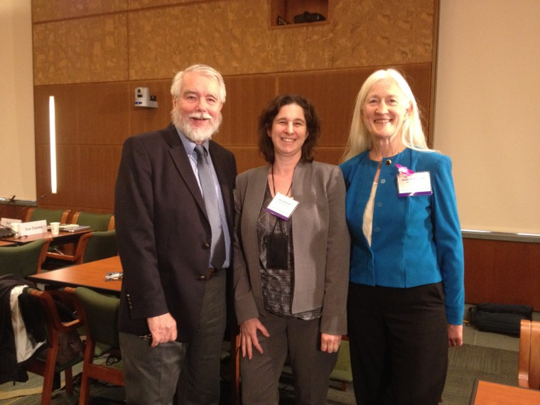 Suzanne O'Connell, right, with Ed Laine '69 and Kerry Brenner '94 at a National Academies of Sciences, Engineering, and Medicine workshop.