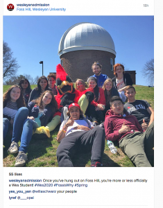 Several students groups and departments, such as the Office of Admission, posted WesFest images on Instagram and other social media sites.