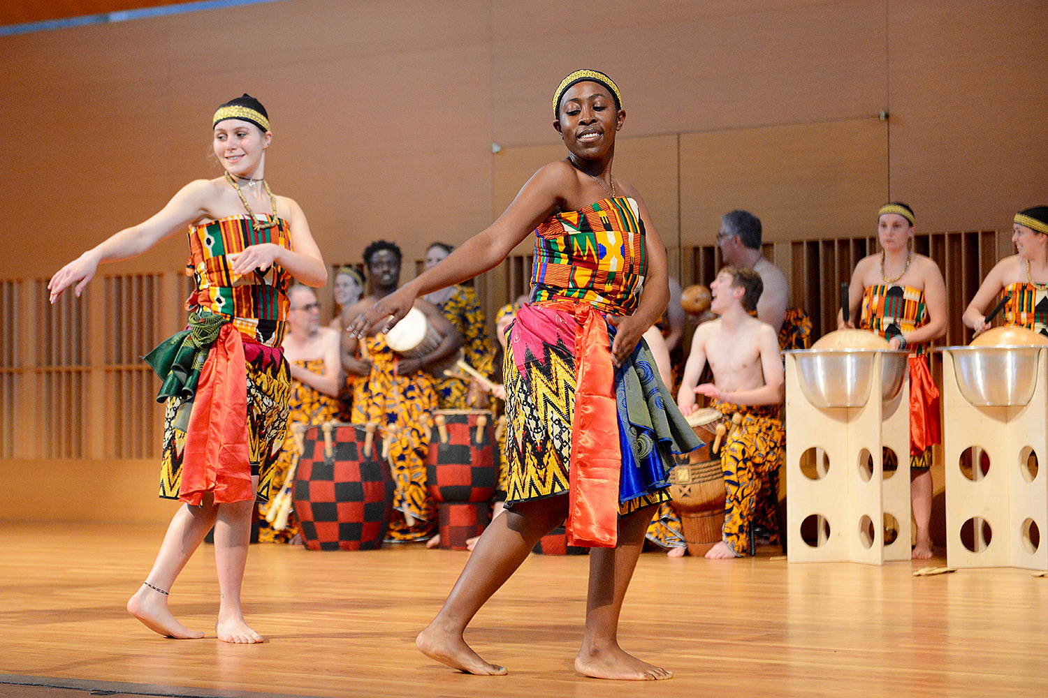 The afternoon concert featured Wesleyan's  West African Drumming and Dance Ensemble, Tufts University's Kiniwe Ensemble with the Agbekor Drum and Dance Society, University of Massachusetts Dartmouth's Kekeli African Music and Dance Ensemble, Berklee College of Music's West African Drum and Dance Ensemble, Montclair State University's West African Drumming and Dance Ensemble with the Rhythm Monsters, and Ayanda Clarke '99.