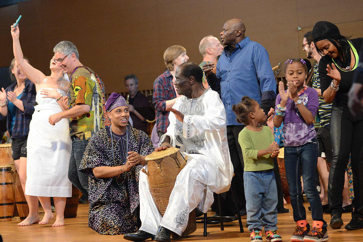 On May 7, Master drummer Abraham Adzenyah, adjunct professor of music, emeritus, returned to campus for a ceremony, farewell concerts, and reunion featuring past and present students. Adzenyah taught West African music, dance and culture at Wesleyan for 46 years and retired in May.