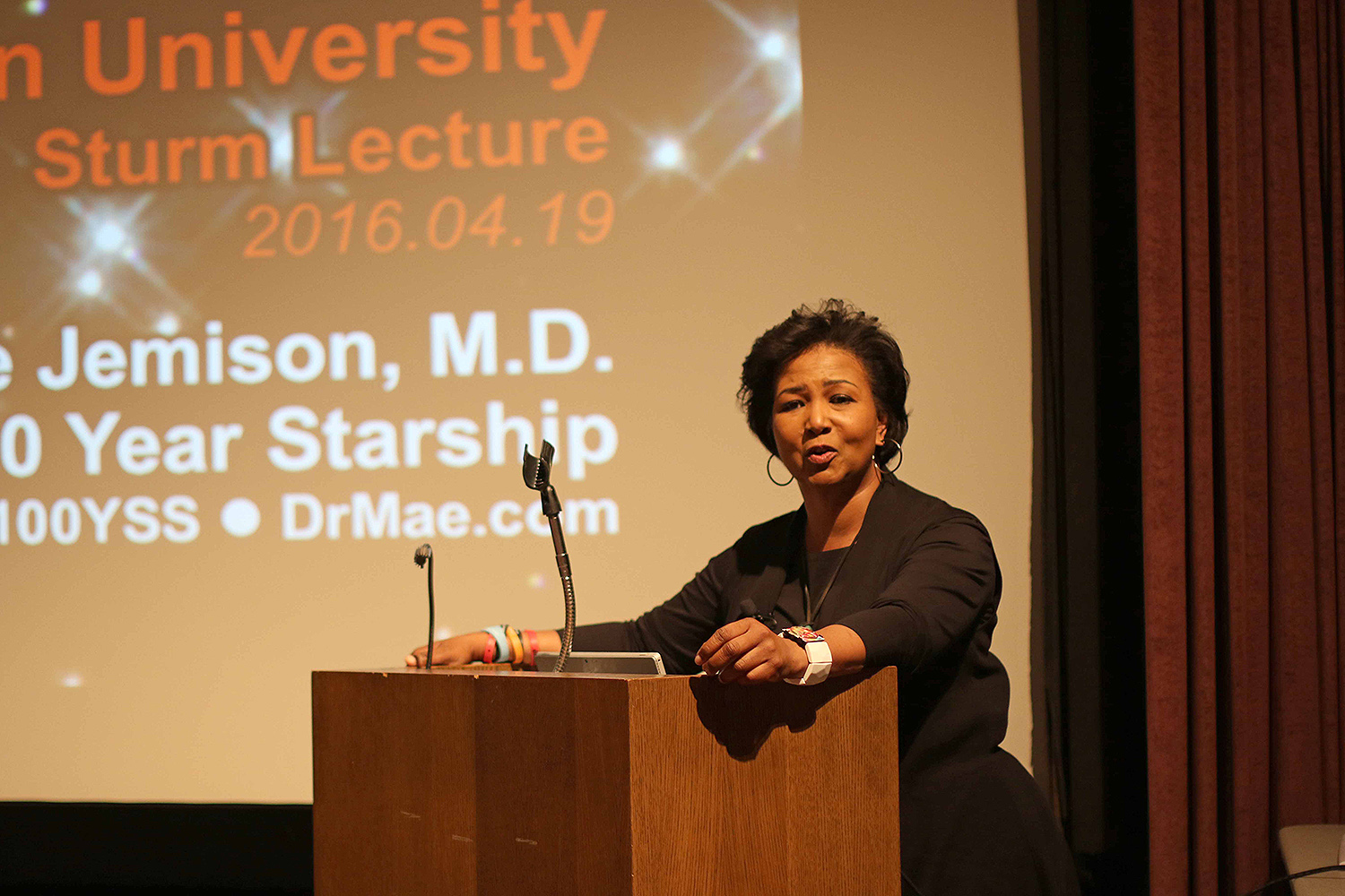 "Dr. Mae Jemison, an astronaut, physician, Peace Corp. volunteer and dancer, delivered the annual Sturm Lecture April 19 in the Ring Family Performing Arts Hall. Her topic was ""Exploring the Frontiers of Science and Human Potential."""