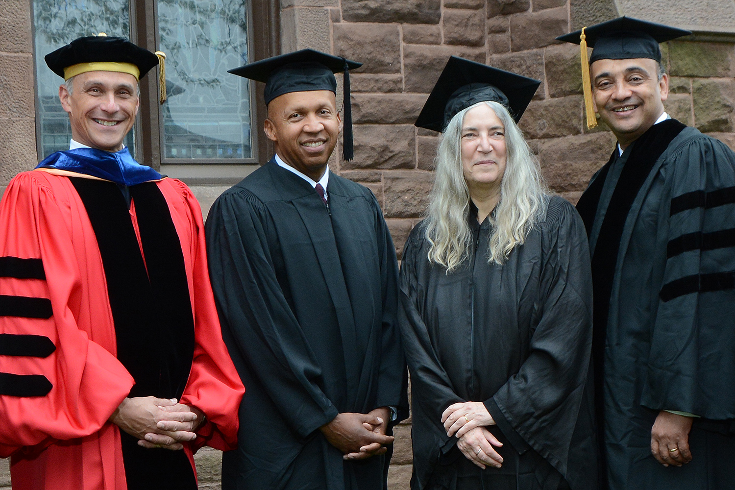 From left, Michael Roth, Bryan Stevenson, Patti Smith, Anthony Appiah, Joshua Boger. (Photo by John Van Vlack)
